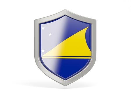 tokelau: Shield icon with flag of tokelau isolated on white Stock Photo