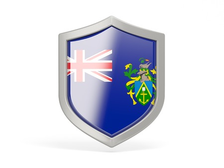 pitcairn: Shield icon with flag of pitcairn islands isolated on white Stock Photo