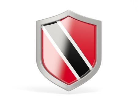 national flag trinidad and tobago: Shield icon with flag of trinidad and tobago isolated on white