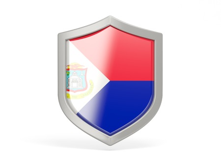 sint: Shield icon with flag of sint maarten isolated on white