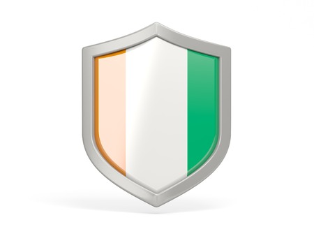 cote ivoire: Shield icon with flag of cote d Ivoire isolated on white