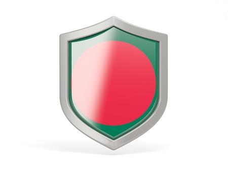 national flag bangladesh: Shield icon with flag of bangladesh isolated on white