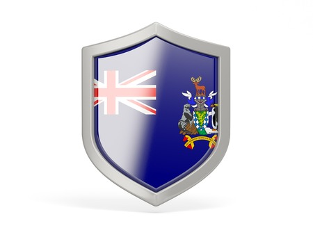 south georgia: Shield icon with flag of south georgia and the south sandwich islands isolated on white