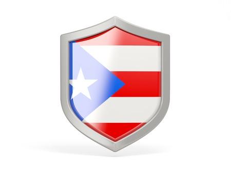 bandera de puerto rico: Icono del escudo con la bandera de Puerto Rico aislado en blanco