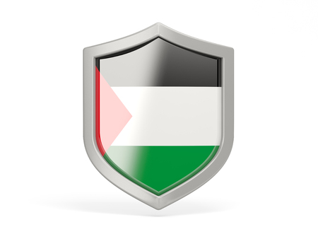 palestinian: Shield icon with flag of palestinian territory isolated on white Stock Photo
