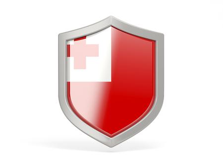 tonga: Shield icon with flag of tonga isolated on white