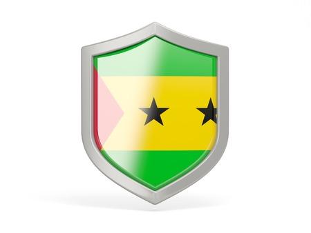 principe: Icono del escudo con la bandera de Santo Tomé y Príncipe aislado en blanco