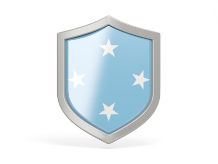 micronesia: Shield icon with flag of micronesia isolated on white Stock Photo