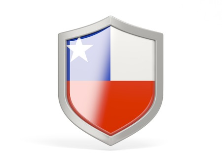 security symbol: Shield icon with flag of chile isolated on white Stock Photo