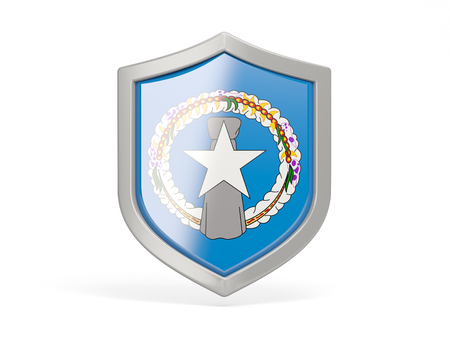 mariana: Shield icon with flag of northern mariana islands isolated on white