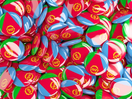 eritrea: Background with round pins with flag of eritrea