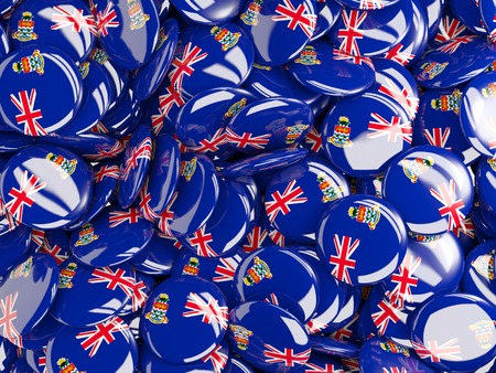 cayman islands: Background with round pins with flag of cayman islands Stock Photo