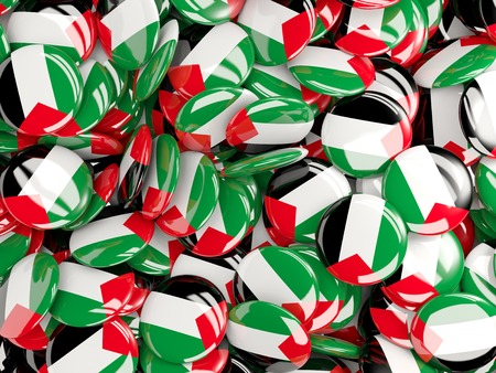 palestinian: Background with round pins with flag of palestinian territory