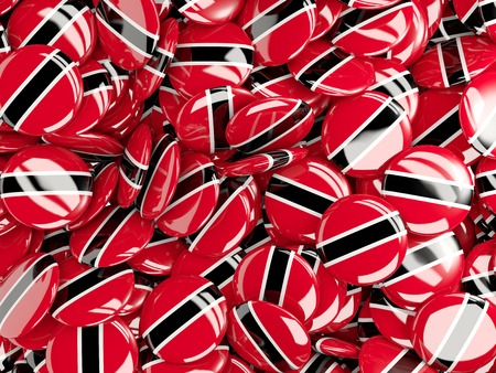 national flag trinidad and tobago: Background with round pins with flag of trinidad and tobago