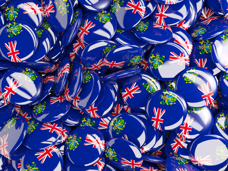 pitcairn: Background with round pins with flag of pitcairn islands
