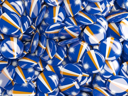 marshall: Background with round pins with flag of marshall islands