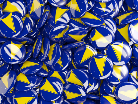 tokelau: Background with round pins with flag of tokelau