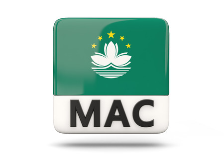 macao: Square icon with flag of macao and ISO code
