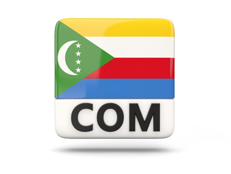 comoros: Square icon with flag of comoros and ISO code Stock Photo