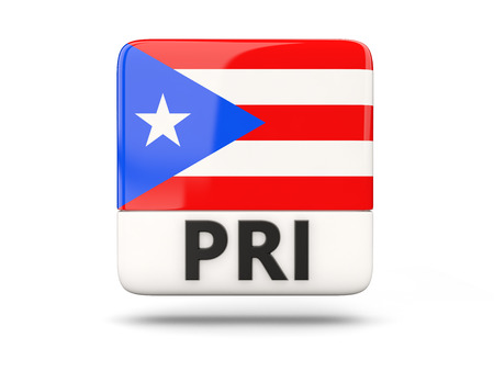 puerto rico: Square icon with flag of puerto rico and ISO code