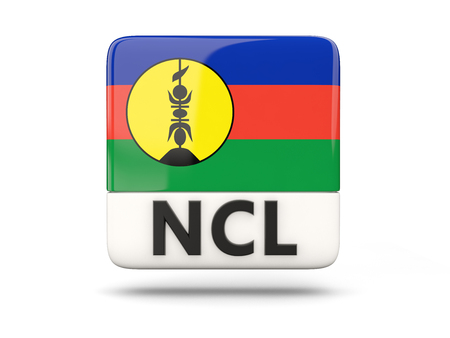 new caledonia: Square icon with flag of new caledonia and ISO code Stock Photo