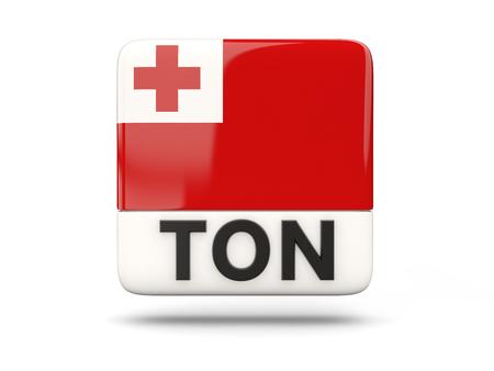 tonga: Square icon with flag of tonga and ISO code