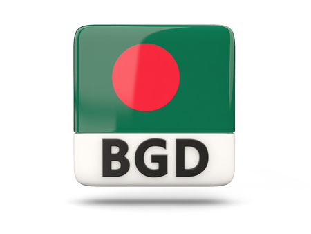 bangladesh 3d: Square icon with flag of bangladesh and ISO code Stock Photo