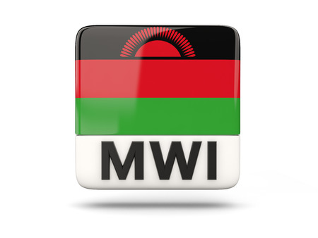 malawi: Square icon with flag of malawi and ISO code