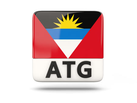antigua: Square icon with flag of antigua and barbuda and ISO code