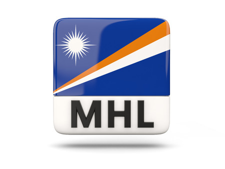 marshall: Square icon with flag of marshall islands and ISO code