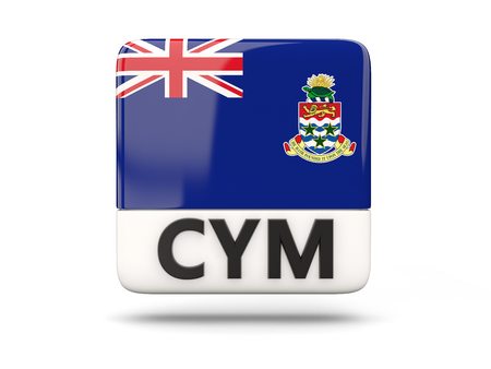 cayman islands: Square icon with flag of cayman islands and ISO code