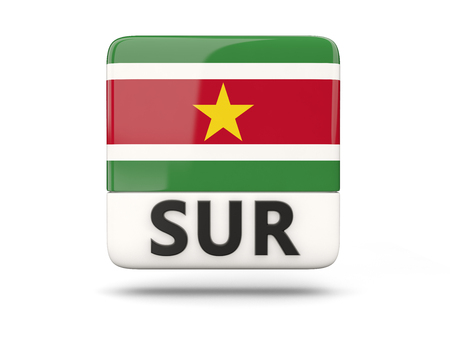 suriname: Square icon with flag of suriname and ISO code