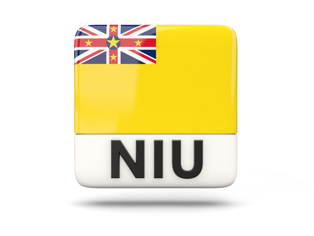 niue: Square icon with flag of niue and ISO code Stock Photo