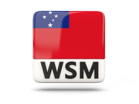 samoa: Square icon with flag of samoa and ISO code