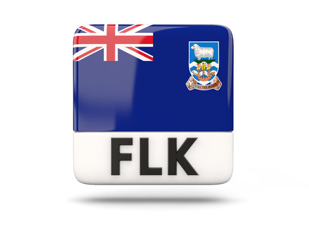 falkland: Square icon with flag of falkland islands and ISO code