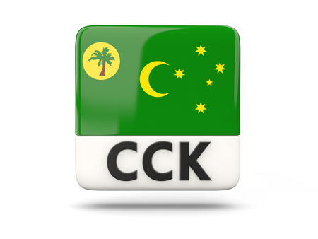 cocos: Square icon with flag of cocos islands and ISO code
