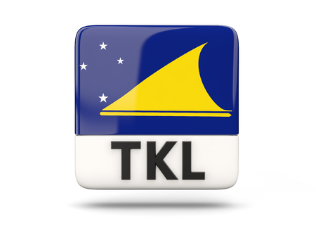 tokelau: Square icon with flag of tokelau and ISO code