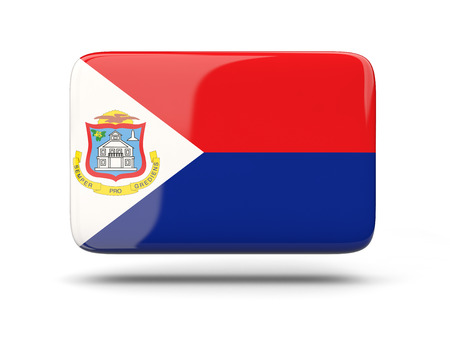 sint: Square icon with shadow and flag of sint maarten