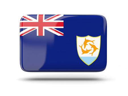 anguilla: Square icon with shadow and flag of anguilla Stock Photo