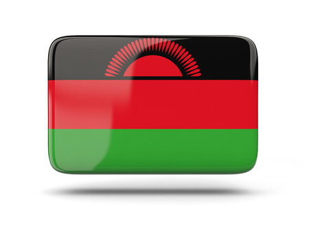 malawi flag: Square icon with shadow and flag of malawi