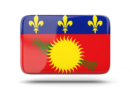 guadeloupe: Square icon with shadow and flag of guadeloupe