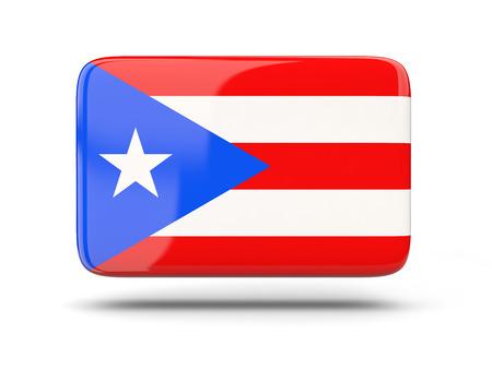 bandera de puerto rico: icono cuadrado con sombra y la bandera de Puerto Rico Foto de archivo