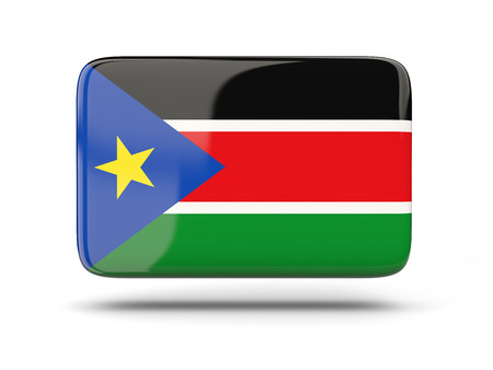 south sudan: Square icon with shadow and flag of south sudan