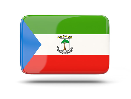 equatorial guinea: Square icon with shadow and flag of equatorial guinea Stock Photo
