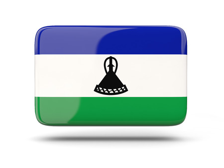 lesotho: Square icon with shadow and flag of lesotho