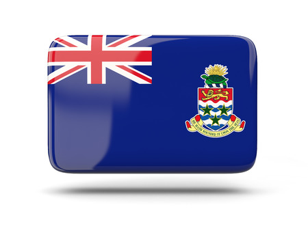 cayman islands: Square icon with shadow and flag of cayman islands Stock Photo