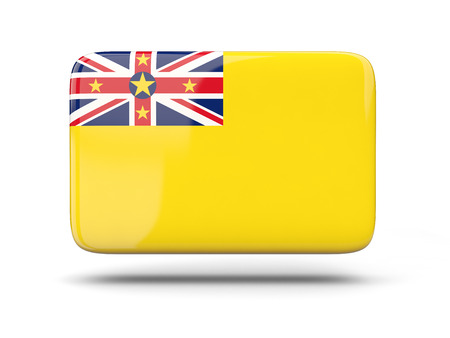 niue: Square icon with shadow and flag of niue
