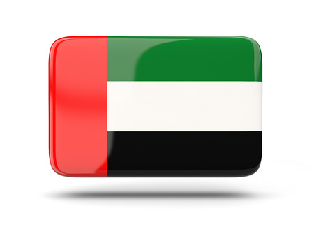 emirates: Square icon with shadow and flag of united arab emirates