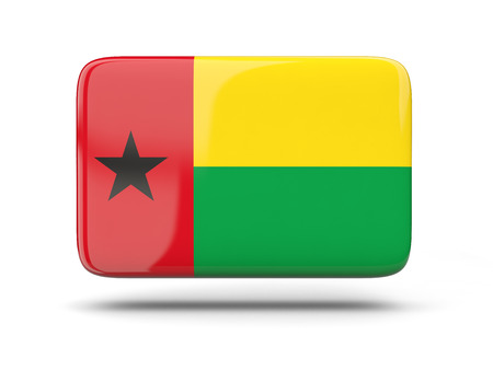 guinea bissau: Square icon with shadow and flag of guinea bissau