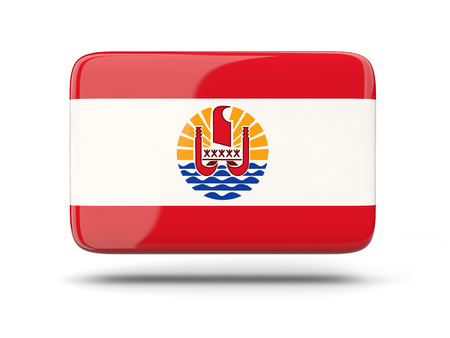 french flag: Square icon with shadow and flag of french polynesia Stock Photo